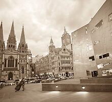 Federation Square Corner Sepia by Esther Frieda