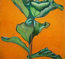 Large leaf plant in acrylic by Woodie