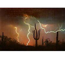 Arizona Saguaro Lightning Storm Print Photographic Print