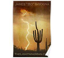 Arizona Saguaro Lightning Storm Poster Print Poster