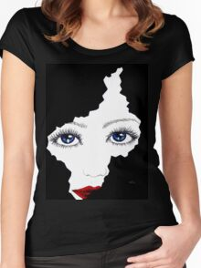 blue eyes girl Women's Fitted Scoop T-Shirt