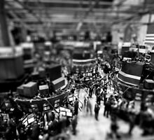 New York Wall Street & Stock Exchange 2 Black and White by Gerald Holubowicz