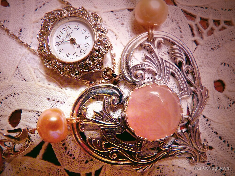 """"""" My Mother's Timepiece With A Sterling Heart On Belgium Lace"""" by franticflagwave"""