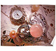 """ My Mother's Timepiece With A Sterling Heart On Belgium Lace"" Poster"