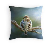 English-House Sparrow Throw Pillow