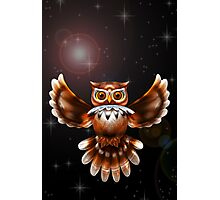 Surreal Owl Metallic Flying on the Night 3d Photographic Print