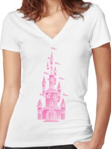 Pink Fairy Princess Castle Women's Fitted V-Neck T-Shirt