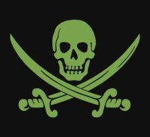 Pirate Flag Skull and Crossed Swords by Chillee Wilson Kids Tee