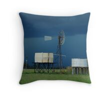 Storm brewing behind the water tanks Wilber Farm Throw Pillow