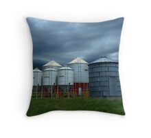 Storm brewing behind Grain Silos on Wilber Farm Throw Pillow