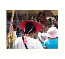 Shan lady in hat Art Print