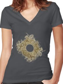 Abstract Digital Baroque Swirls Women's Fitted V-Neck T-Shirt