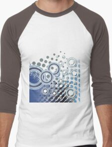 Abstract Digital Blue Bubbles Men's Baseball ¾ T-Shirt