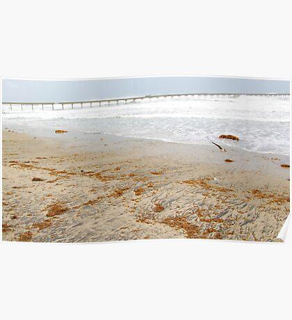 Big Waves, Empty Beach Poster
