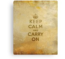 Keep Calm and Carry One Old Vintage Background Canvas Print