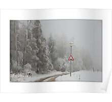 Lonely road in winter Poster