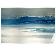 Swiss Alpine panorama with Rigi from a hill in Aargau Poster