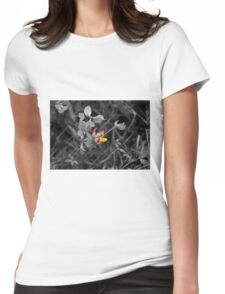 Flower on black and white Womens Fitted T-Shirt