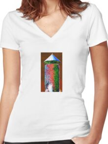 funky tower Women's Fitted V-Neck T-Shirt