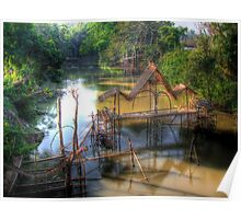 Fish-trap and water-wheels Poster
