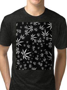 White Marijuana Leaves Tri-blend T-Shirt