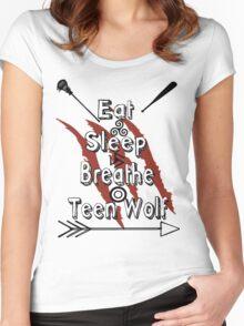 Eat Sleep Breathe Teen Wolf Women's Fitted Scoop T-Shirt