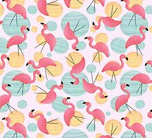 Summer Flamingos and Party Lights by megsneggs