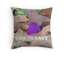 Dare to Dance purple flower petal and autumn leaves Throw Pillow