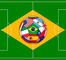 football field and ball with flags by siloto