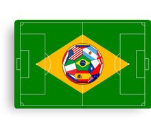 football field and ball with flags Canvas Print