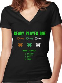 Ready Player One 8-Bit Game High Five Women's Fitted V-Neck T-Shirt