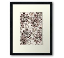 Coffee & Cocoa - brown & cream floral doodles on wood Framed Print