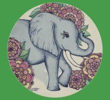Little Elephant in soft vintage pastels One Piece - Short Sleeve