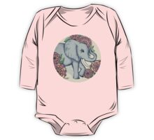 Little Elephant in soft vintage pastels One Piece - Long Sleeve