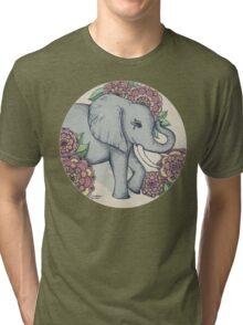 Little Elephant in soft vintage pastels Tri-blend T-Shirt
