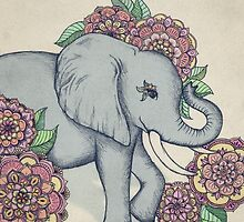 Little Elephant in soft vintage pastels by micklyn