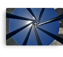 Spiral Sculpture on Blue Sky with Sun Canvas Print
