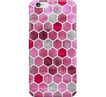 Pink Ink - watercolor hexagon pattern iPhone Case/Skin