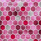 Pink Ink - watercolor hexagon pattern by micklyn