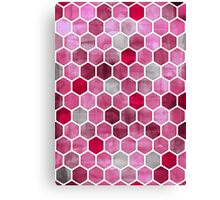 Pink Ink - watercolor hexagon pattern Canvas Print