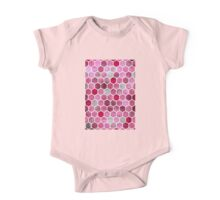 Pink Ink - watercolor hexagon pattern One Piece - Short Sleeve