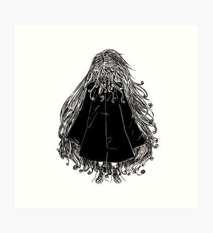Faceless Girl in coat Art Print