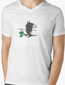 Wolf fisherman. Mens V-Neck T-Shirt