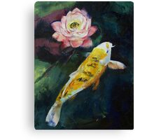 Koi and Lotus Flower Canvas Print