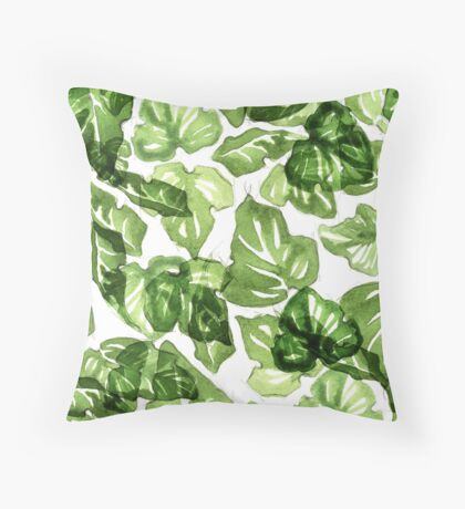 Green leafs pattern Throw Pillow