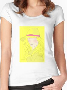 Girl In Hat With Purple Ribbon Women's Fitted Scoop T-Shirt