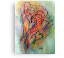 Colored Pencil Hearts Canvas Print