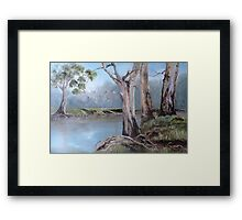 Misty Morning At The Riverbank Framed Print