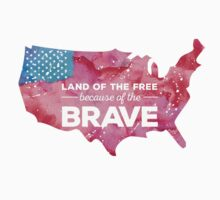 Land of the Free because of the Brave Watercolor by Jeri Stunkard
