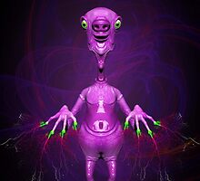 Fun Pink Alien Telepathic Power by BluedarkArt